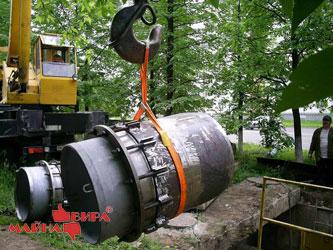 Монтаж трубопровода с применением ленточного стропа